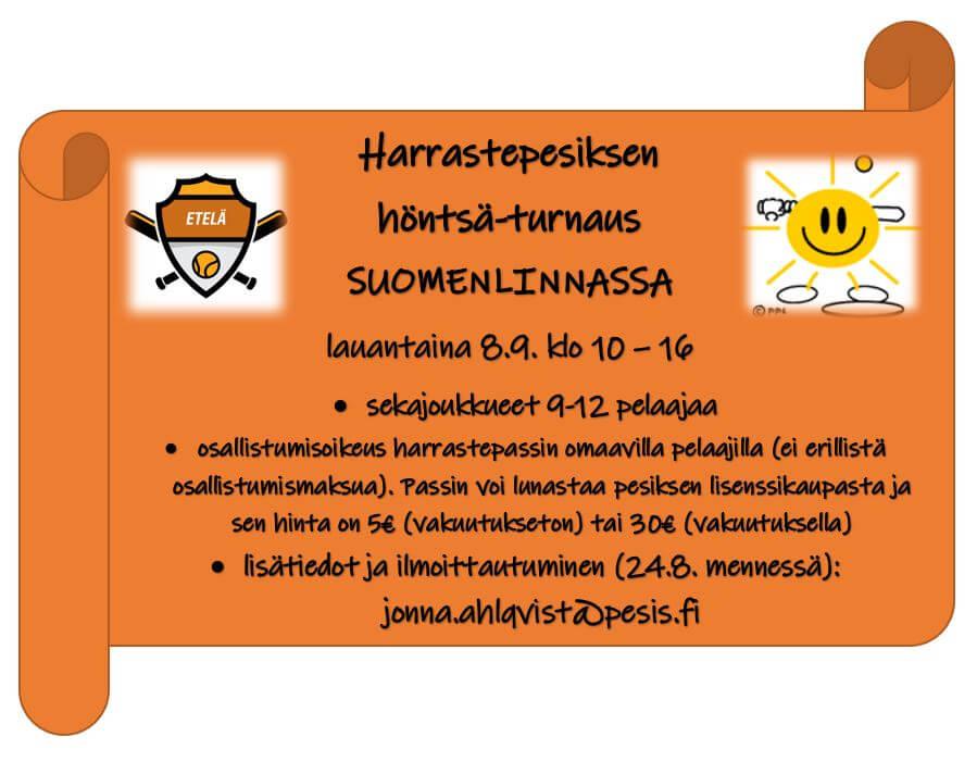 Pesistä Suomen kuvauksellisimmassa ympäristössä – Harrastepassilla Suomenlinnan turnaukseen 8.9.