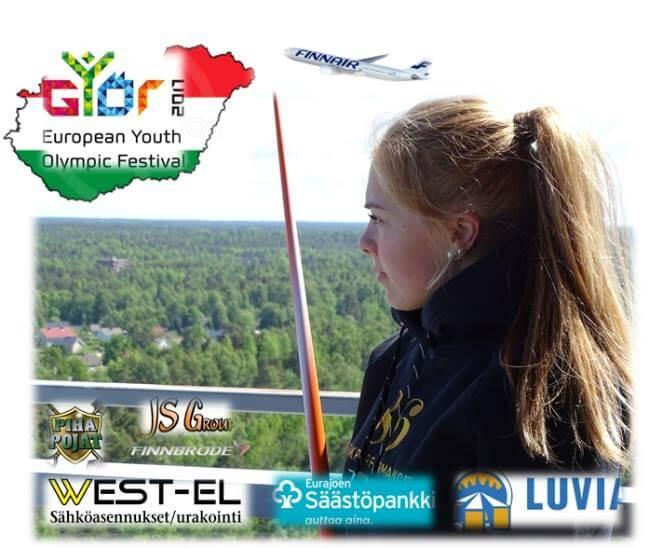 Pesäpalloileva keihäslupaus Julia Valtanen Euroopan Nuorten Olympiafestivaaleille