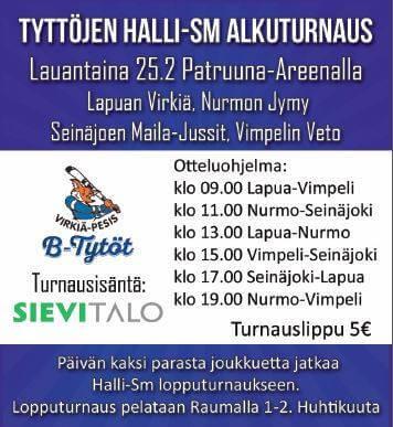 B-tyttöjen Halli-SM-turnaus jatkuu Lapualla ja Porissa lauantaina