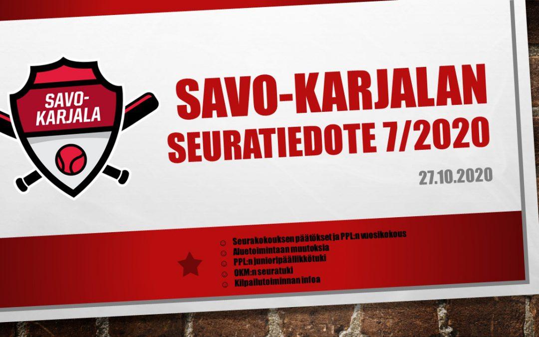 Savo-Karjalan seuratiedote 7/2020