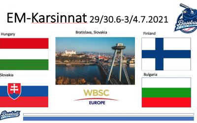 Suomen baseball-maajoukkueen vastustajat kesän EM-karsintoihin selvillä